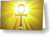 Golden Ankh With Sunbeams Greeting Card