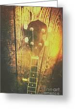 Golden Banjo Neck In Retro Folk Style Greeting Card