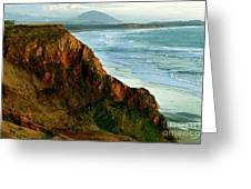 Golden Beach Cliff Side  Painterly Greeting Card
