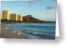 Golden Bliss On The Beach - Waikiki And Diamond Head Volcano Greeting Card
