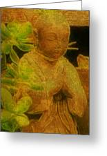 Golden Buddha Greeting Card by Jen White