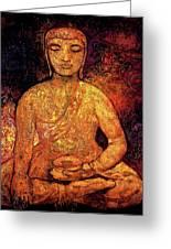 Golden Buddha Greeting Card by Shijun Munns