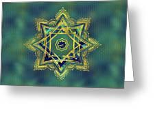 Golden Decorative Star Of Lakshmi - Ashthalakshmi  Greeting Card