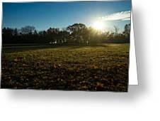 Golden Dew Autumn Sunrise Greeting Card