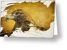 Golden Eagle Grunge Portrait Greeting Card