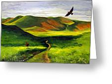 Golden Eagles On Green Grassland Greeting Card