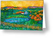Golden Farm Scene Sketch Greeting Card