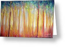 Golden Forest Hidden Unicorn - Large Original Oil Painting By Gill Bustamante Greeting Card