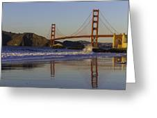Golden Gate And Waves Greeting Card