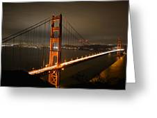 Golden Gate At Night Greeting Card