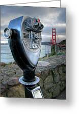 Golden Gate Binoculars Greeting Card by Peter Tellone