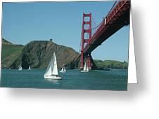 Golden Gate Bridge And Sailboats Greeting Card