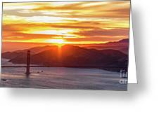 Golden Gate Bridge And San Francisco Bay At Sunset Greeting Card