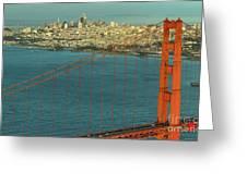 Golden Gate Bridge And San Francisco Skyline Greeting Card