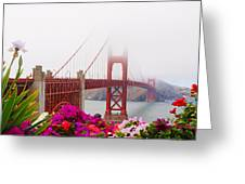 Golden Gate Bridge Flowers 2 Greeting Card