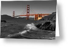 Golden Gate Bridge Sunset Study 1 Bw Greeting Card