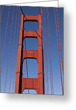 Golden Gate Bridge Tower Greeting Card by Garry Gay