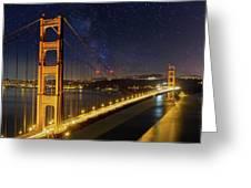 Golden Gate Bridge Under The Starry Night Sky Greeting Card