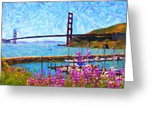 Golden Gate Bridge Viewed From Fort Baker Greeting Card by Wingsdomain Art and Photography