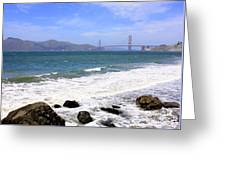 Golden Gate Bridge With Rocky Beach Greeting Card