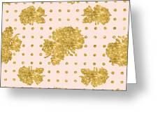 Golden Gold Blush Pink Floral Rose Cluster W Dot Bedding Home Decor Greeting Card
