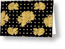 Golden Gold Floral Rose Cluster W Dot Bedding Home Decor Art Greeting Card