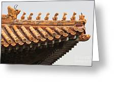 Golden Guardians Of The Forbidden City Greeting Card