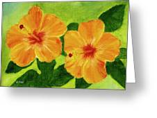Golden Hawaii Hibiscus Flower #25 Greeting Card