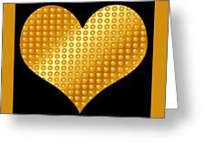 Golden Heart Black  Greeting Card