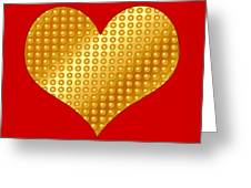 Golden Heart Red Greeting Card