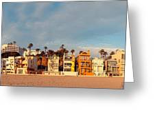 Golden Hour Panorama Of Santa Monica Condos And Bungalows - Los Angeles California Greeting Card