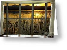 Golden Lake Bay Picture Window View Greeting Card