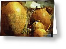 Golden Large Fountain Urns Greeting Card