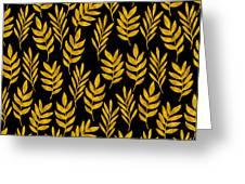 Golden Leaf Pattern Greeting Card