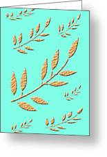 Golden Leaves On Aqua Greeting Card