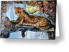 Golden Leopard Greeting Card