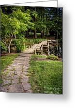 Golden Light On Footbridge Japanese Garden Maymont Greeting Card