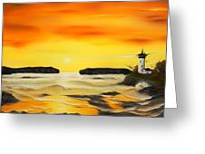 Golden Lighthouse Sunset Dreamy Mirage Greeting Card