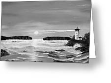 Golden Lighthouse Sunset In Black And White Greeting Card