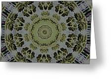 Mandala In Pewter And Gold Greeting Card