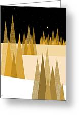 Golden Moonlight Greeting Card by Val Arie
