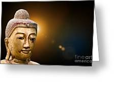 Golden Old Buddha Head Greeting Card