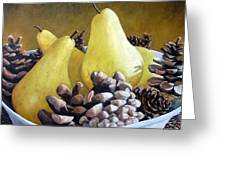 Golden Pears And Pine Cones Greeting Card