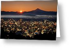 Golden Portland Morning Greeting Card