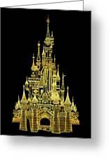 Golden Princess Fairytale Castle Greeting Card