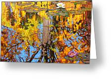 Golden Reflections On Lily Pond Greeting Card