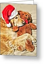Golden Retriever Dog Christmas Teddy Bear Greeting Card