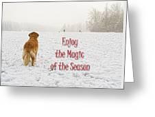 Golden Retriever Dog Magic Of The Season Greeting Card