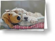 Golden Retriever Dog Sleeping With My Friend Greeting Card by Jennie Marie Schell