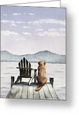 Golden Retriever On The Dock Greeting Card
